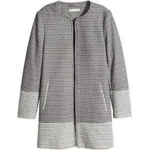 H&M   Two Toned Houndstooth Open Style Long Blazer Jacket